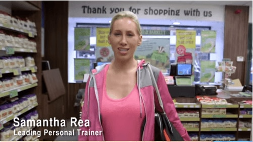Samantha Rae, a personal trainer stood in Holland and Barrett
