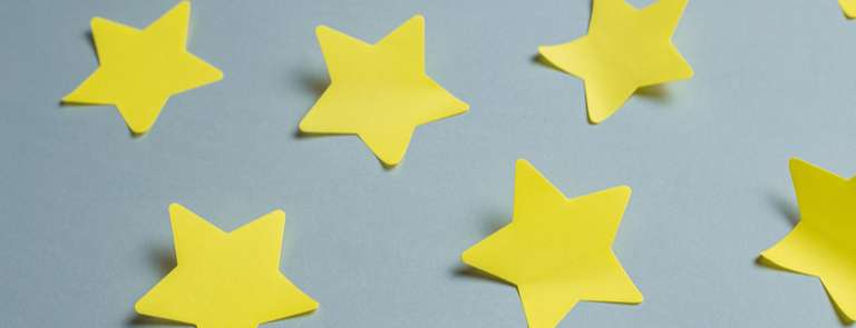 closeup of paper star stickers
