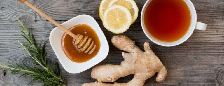 Ginger, lemon slices and honey