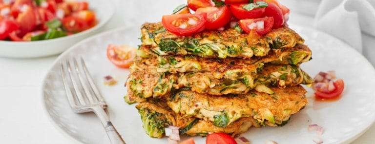 Green vegetable fritters with tomato salsa