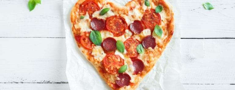 Pizza shaped as a heart