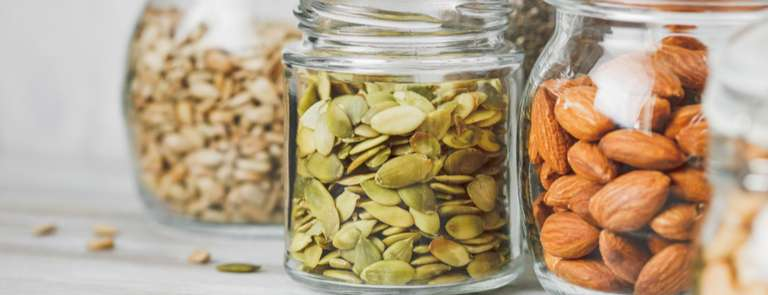 jars of seeds and nuts