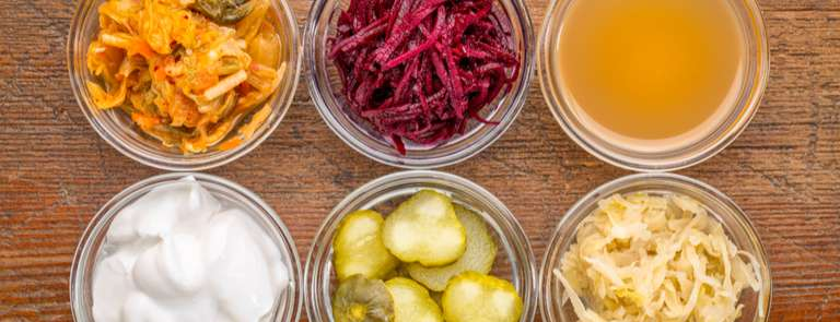 bowls of fermented foods good for gut