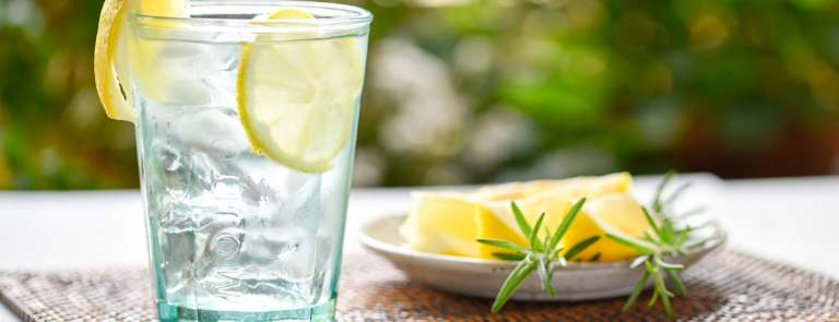 glass of lemon infused water
