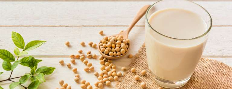 soy milk next to soy beans
