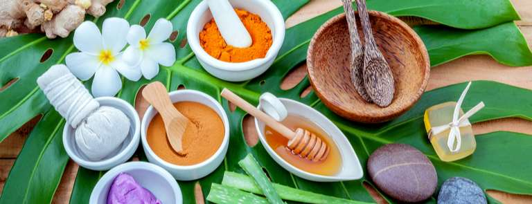 selection of natural ingredients used in beauty products