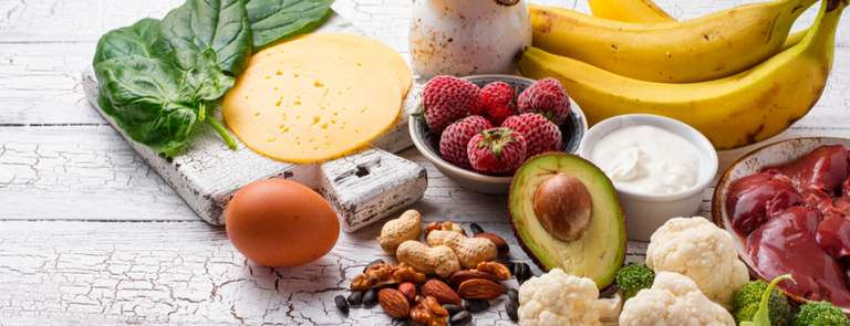 selection of foods rich in biotin
