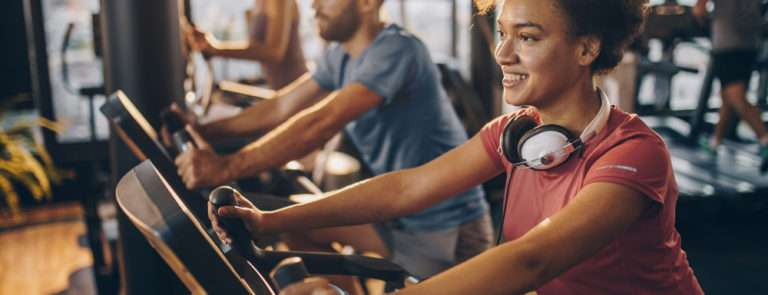 Positive woman doing exercise
