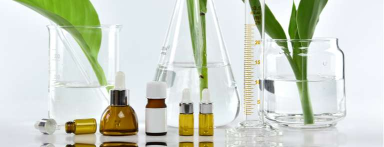 cosmetic lab equipment with beauty products