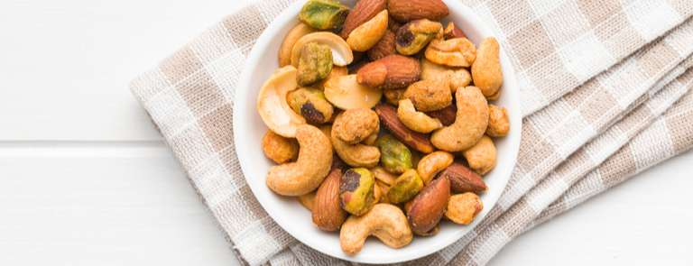 bowl of mixed spicy nuts