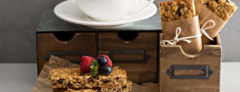 Granola bars with coffee for breakfast to go
