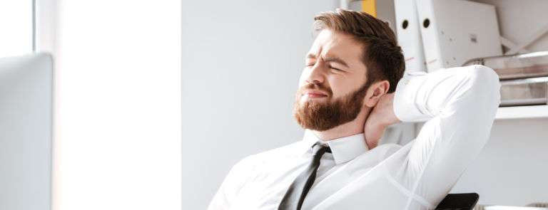 Man with tension in the neck