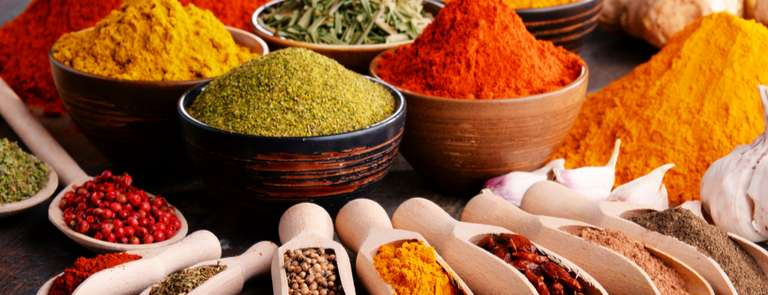 selection of colourful seasonings and spices