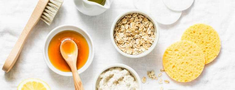 Mask ingredients including honey, oats and sugar